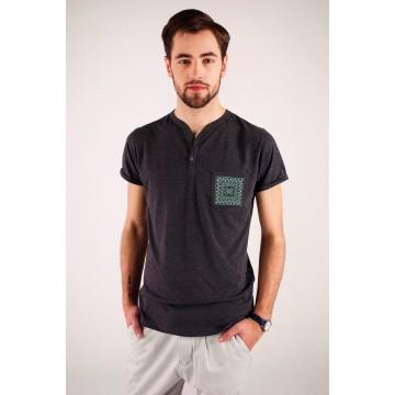 T-shirt czarny haft kielecki