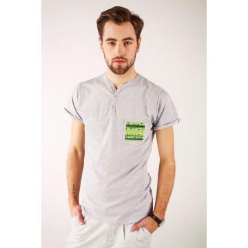 T-shirt szary haft lubelski
