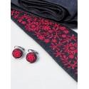 Krawat wełna haft krakowski czerwony