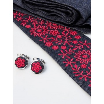 Zestaw krawat i spinki haft krakowski czerwony