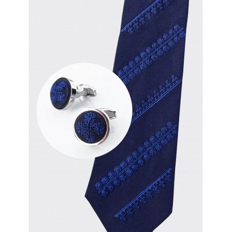 Zestaw krawat i spinki haft biłgorajski