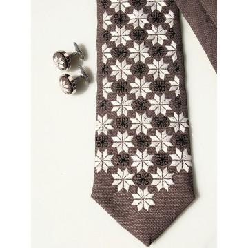 Zestaw krawat i spinki haft włodawski