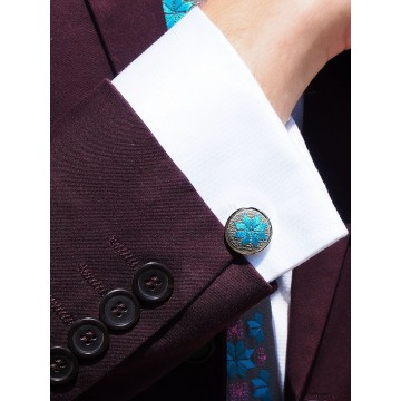 Zestaw krawat i spinki haft włodawski turkus