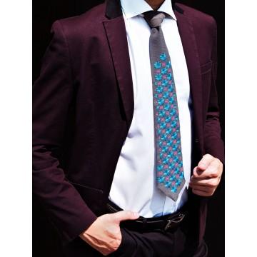 Folk krawat haft włodawski turkus