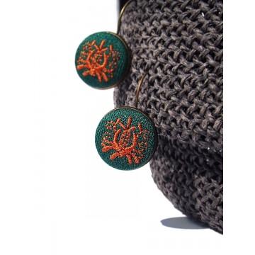 Kolczyki zielone haft kaszubski