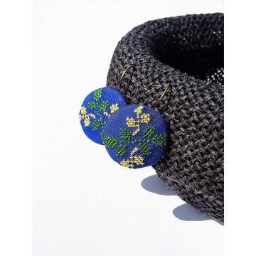 Kolczyki szafirowe haft łowickie