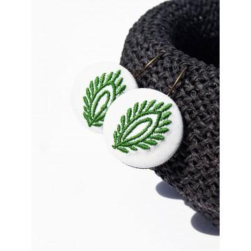 Kolczyki zielone haft kujawski