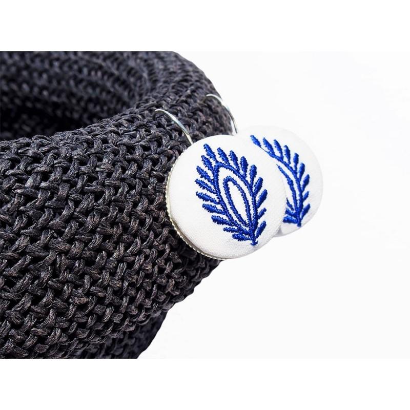 Kolczyki niebieskie haft kujawski