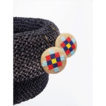 Kolczyki beżowe haft rzeszowski