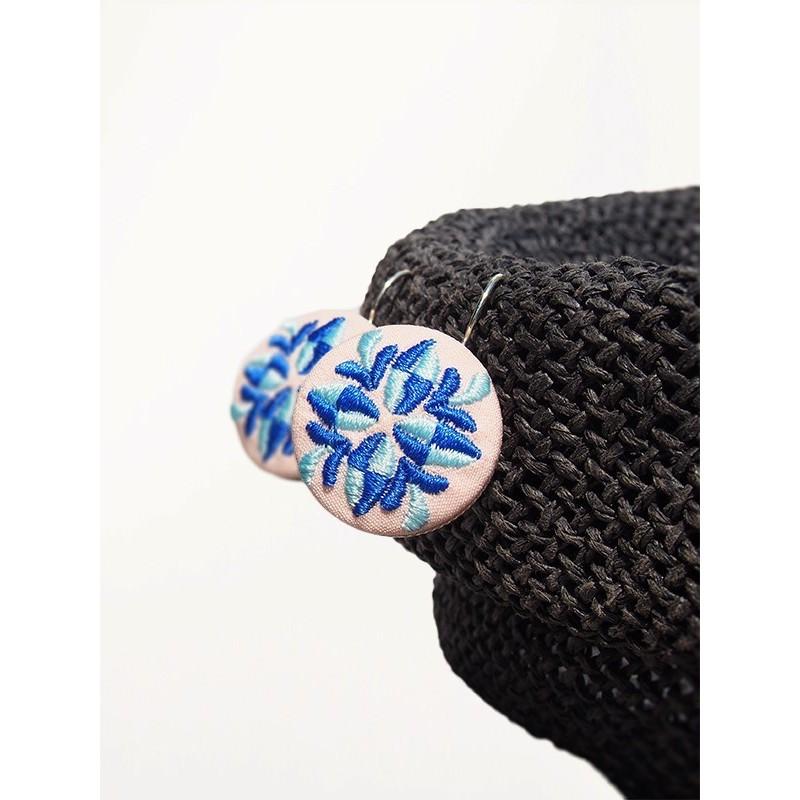 Kolczyki niebieskie haft krakowski