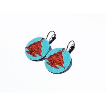 Kolczyki turkus haft kaszubski