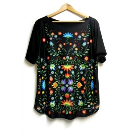 Folk t- shirt kwiaty ornament czarny