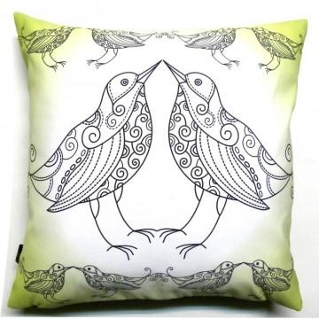 Poduszka ptaki w zieleni