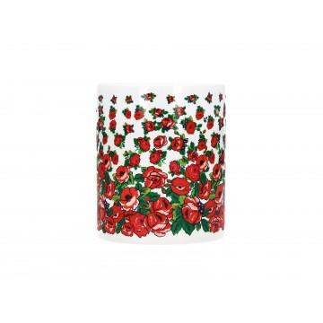 Folk kubek podhalańskie róże biały