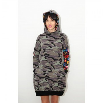 Folk sukienka moro z kapturem