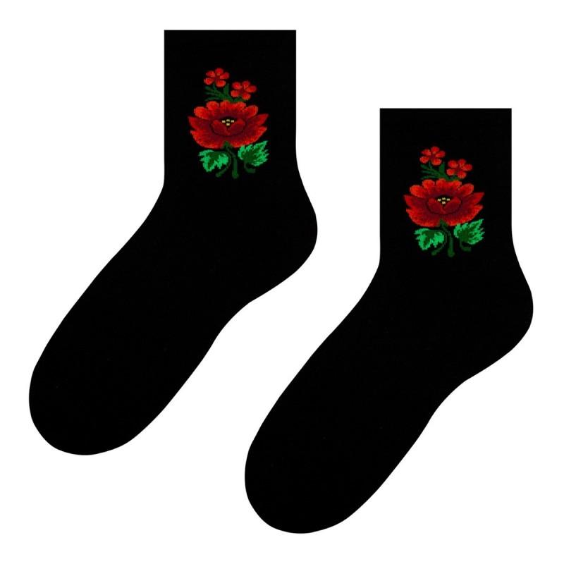 Folk skarpetki czarne róża ludowa