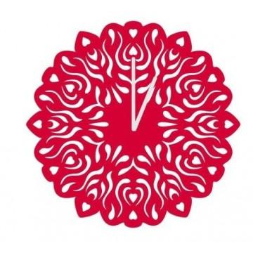 Folk zegar wycinanka czerwony