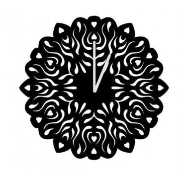 Folk zegar wycinanka czarny