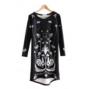 Sukienka czarna kogutki kurpie