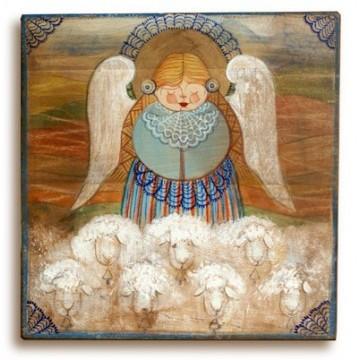 """""""Hanuś i owieczki"""" obraz na ludowo"""