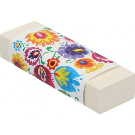 Gumka łowickie kwiaty biała
