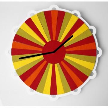Folk zegar łowicki pasiak z czerwienią