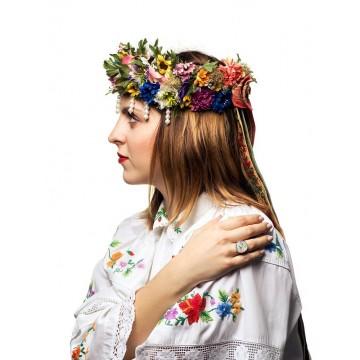Pierścionek folk kwiaty