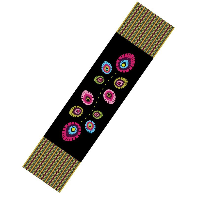 Bieżnik folk elements czarny 50 x 200