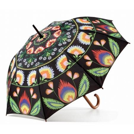 Parasol folk czarny - łowicka wycinanka