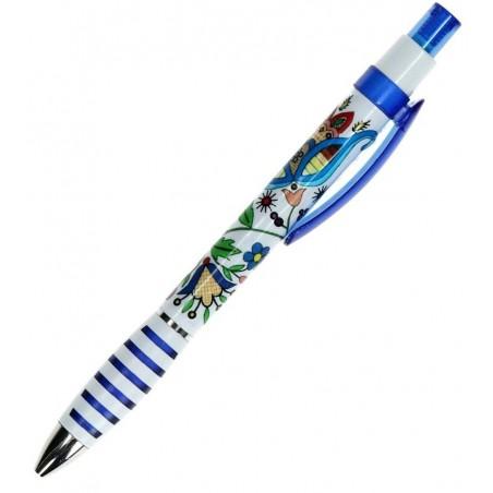 Folk długopis kaszubski niebieski