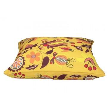 Folk poduszka borowiacka żółta