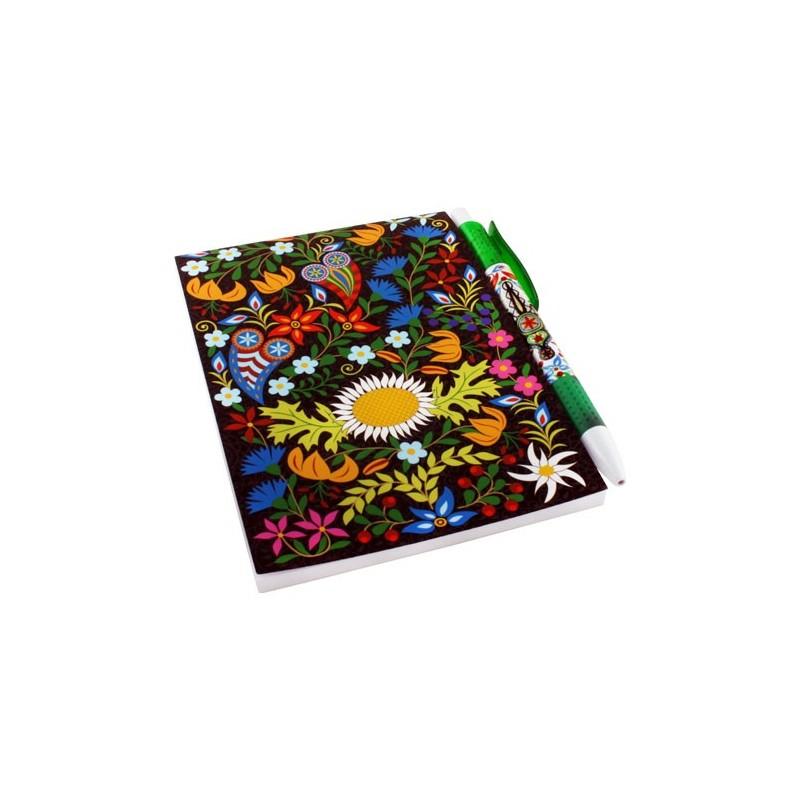 Zestaw notes Podhale kwiaty czarny