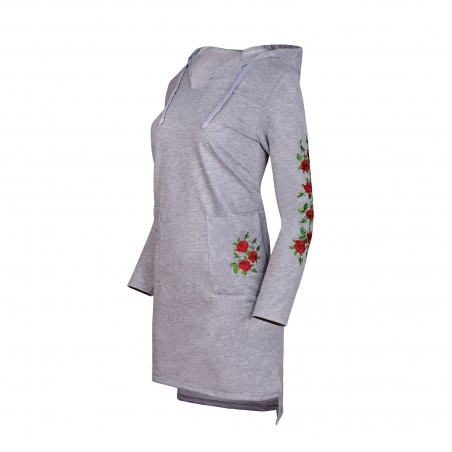 Sukienka z haftem róże szara