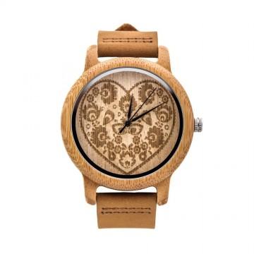 Folk zegarek serce drewno