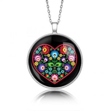 Medalion ludowy serce czarny