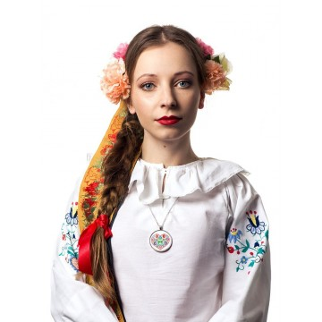 Medalion ludowy serce biały