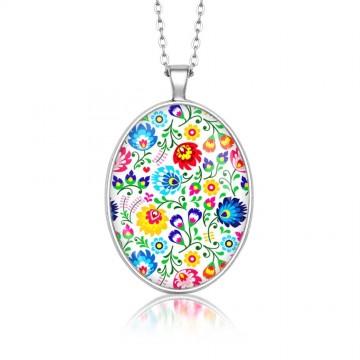 Medalion folk kwiaty owal