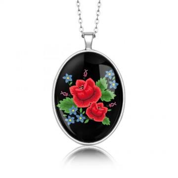 Medalion ludowe róże owal