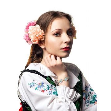 Folk bransoletka kwiaty łowicz