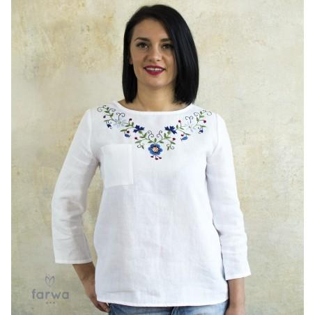 Bluzka lniana rozeta biała
