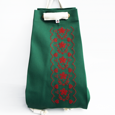 Folk worek zielony haft nowosądecki