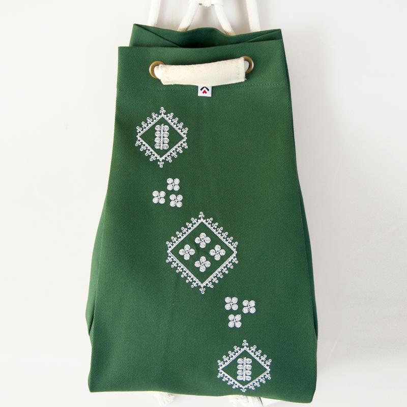 Folk worek zielony haft biłgorajski