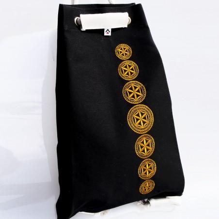 Folk worek czarny haft bieszczadzki złoty