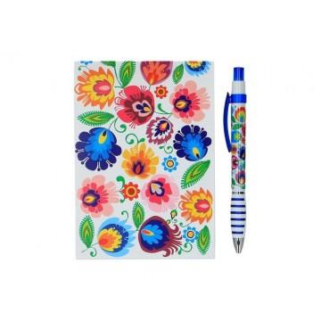 Zestaw notes łowickie kwiaty biały