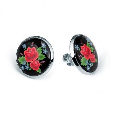 Kolczyki ludowe róże sztyfty