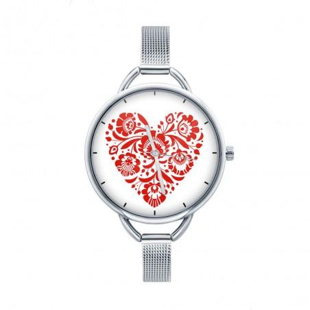 Folk zegarek łowicz serce czerwień