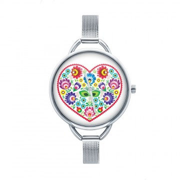 Folk zegarek łowicz serce biały