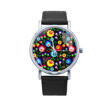 Folk zegarek łowicz czarne kwiaty