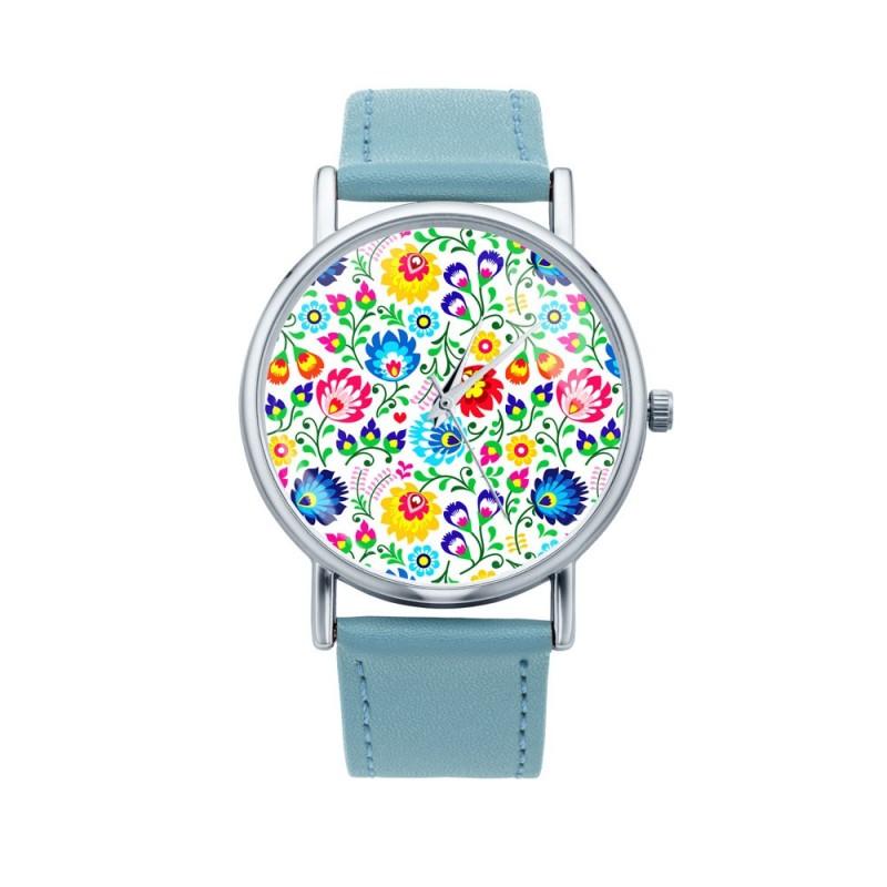 Folk zegarek łowicz białe kwiaty