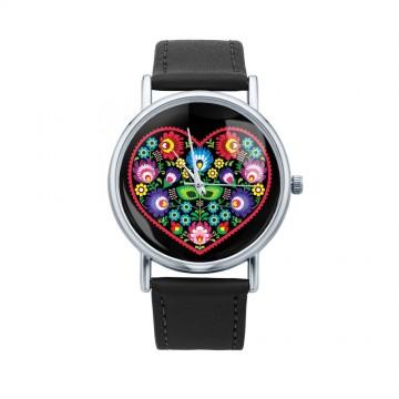 Folk zegarek łowicz serce czarny